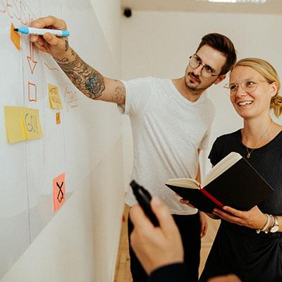 Skizzieren Sie Ihre Ideen oder pinnen Sie Ihre Gedanken auf Post-Its an das große Whiteboard